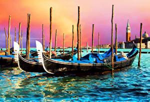 Обои Лодки Италия Венеция Города картинки