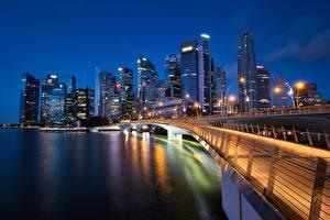 Обои Мост Сингапур Небоскребы Дома Залив Marina Bay Jubilee Bridge город