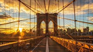 Фото Мосты Америка Утро Рассвет и закат Нью-Йорк brooklyn Города