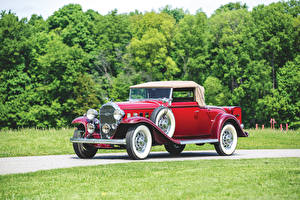 Картинки Buick Старинные Купе Красный 1932 Series 90 Convertible Coupe Авто