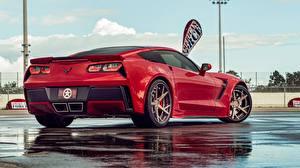 Обои Шевроле Красная Вид сзади Corvette C7 Автомобили