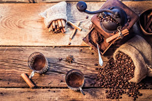 Обои Кофе Корица Бадьян звезда аниса Кофемолка Доски Чашка Зерна Еда