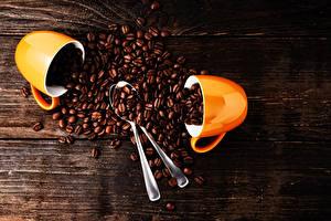 Фотографии Кофе Доски Двое Чашка Ложки Зерна Пища