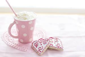 Фото Печенье Чашке Серце Сливки Пища