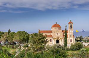 Фото Республика Кипр Храмы Церковь Деревья Agios Raphael Church Pachyammos Cyprus