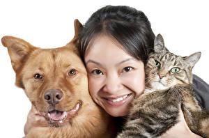 Картинки Собака Коты Белый фон Брюнетки Смотрит Лицо Животные Девушки