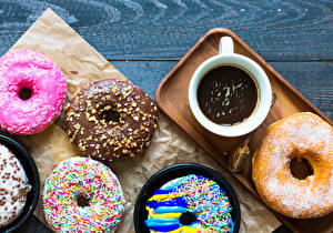 Картинки Пончики Какао напиток Доски Чашка Дизайн