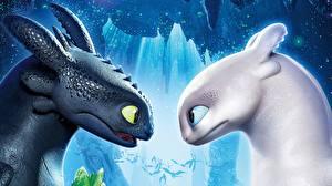 Картинка Дракон Как приручить дракона Голова Два 3 Мультфильмы