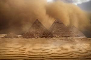 Фото Египет Пустыни Пирамиды Песке Природа