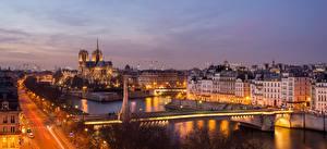 Обои Вечер Мосты Река Дома Франция Париже город