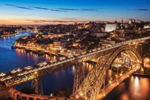 Фотография Вечер Мосты Реки Здания Португалия Портус Кале Vila Nova de Gaia Dom Luís I Bridge