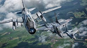 Картинки Самолеты Истребители Бомбардировщик F-16 Fighting Falcon МиГ-29 Летящий Sukhoi Su-22M4
