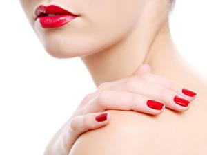Картинка Пальцы Белый фон Красные губы Маникюр
