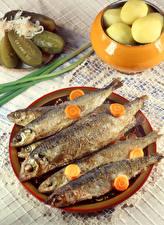 Обои Рыба Огурцы Морковь Тарелка Пища
