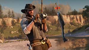 Обои Рыбалка Рыбы Red Dead Redemption 2 Шляпа 2 Игры 3D_Графика
