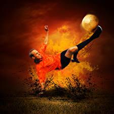 Фотография Футбол Огонь Мужчина Падают Мячик Удар