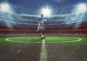 Картинка Футбол Мужчины Стадион Мячик Униформа Спорт