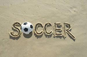 Фотографии Футбол Английский Мяч Песок Soccer спортивные
