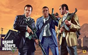 Фотографии GTA 5 Мужчины Автомат Костюм Franklin, Trevor, Michael компьютерная игра