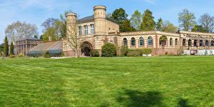 Фотография Германия Парки Здания Газон Botanischer Garten Karlsruhe