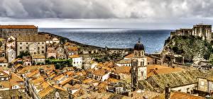 Обои Дома Хорватия Крыша Башня Dubrovnik Города картинки
