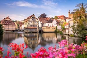 Фотографии Дома Германия Реки Бавария Bamberg Regnitz River Города