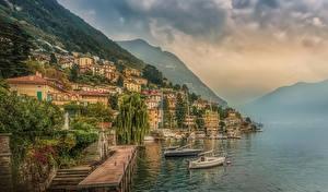 Фотография Италия Здания Озеро Пирсы Гора Побережье Moltrasio Como Lake город