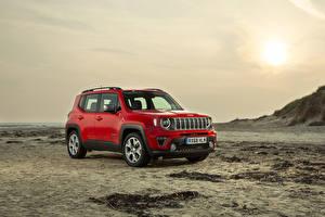 Обои Jeep Красный 2018-19 Renegade Limited Машины