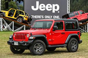 Обои Jeep Внедорожник Красная 2018-19 Wrangler Sport автомобиль