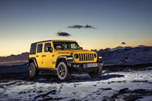Фото Jeep SUV Желтый 2019 Wrangler Unlimited Rubicon машина