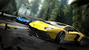 Картинка Lamborghini Need for Speed Желтый Edge Aventador Игры Автомобили 3D_Графика