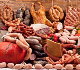 Обои Мясные продукты Колбаса Сосиска Ветчина Курица запеченная Много Еда
