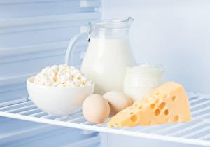 Картинка Молоко Сыры Творог Кувшин Яйца Сливки Еда