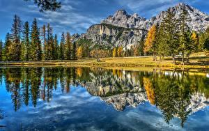 Фото Горы Пейзаж Италия Озеро Отражение Dolomites Lake Antorno