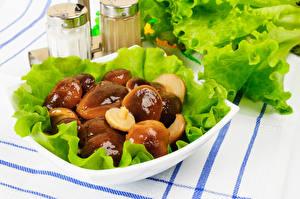 Картинка Грибы Овощи Тарелка Пища