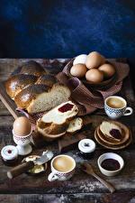 Картинка Выпечка Кофе Капучино Варенье Хлеб Завтрак Яйца Чашка Еда