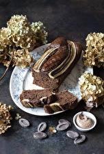 Фотография Выпечка Кекс Шоколад Гортензия Часть Пища