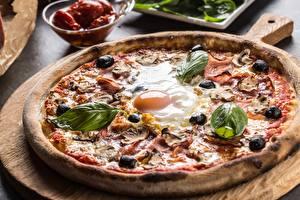 Обои Пицца Оливки Вблизи Яйца Пища Еда