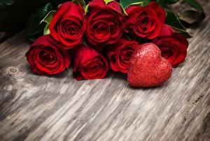 Обои Розы День всех влюблённых Сердца Красный Цветы