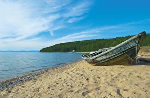 Картинка Россия Сибирь Озеро Побережье Лодки Песок Природа