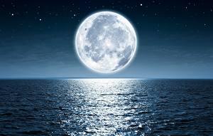 Картинки Море Луна В ночи Горизонт