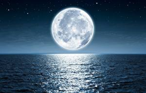Картинки Море Луна Ночь Горизонт