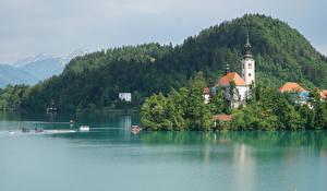 Картинки Словения Горы Леса Дома Залив Bled Природа