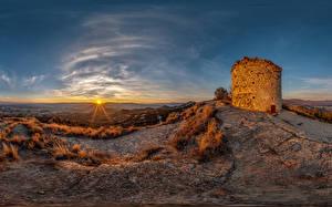 Обои Испания Рассветы и закаты Замок Солнце Castell de Torello Природа