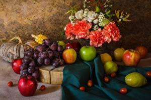 Фотографии Натюрморт Виноград Фрукты Яблоки Гвоздики Пища