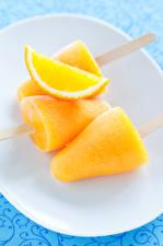 Фотография Сладкая еда Мороженое Апельсин Желтые Еда