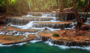 Фото Таиланд Парки Водопады Тропики Huay Mae Khamin Waterfall