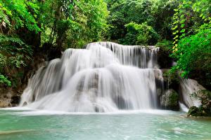 Картинка Таиланд Тропики Парки Водопады Kanchanaburi