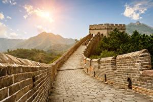 Фотография Китай Великая Китайская стена Горы Стена Города