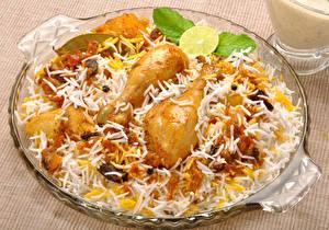 Обои Вторые блюда Курица запеченная Рис Еда